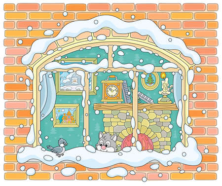 Small curious kitten looking through a window and watching a funny bird perched on a snow-covered windowsill on a frosty winter day, vector illustration in a cartoon style