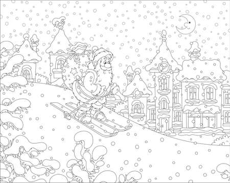 The night before Christmas, Santa Claus with his big bag of gifts skiing down a snow hill to a small snow-covered town, black and white vector illustration in a cartoon style  イラスト・ベクター素材