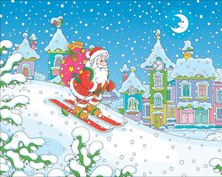 The night before Christmas, Santa Claus with his big bag of gifts skiing down a snow hill to a small snow-covered town, vector illustration in a cartoon style