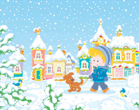 Little boy strolling with his cheerful pup through a snow-covered park of a small colorful town on a snowy winter day, vector illustration in a cartoon style