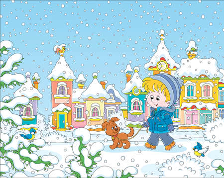 Little boy strolling with his cheerful pup through a snow-covered park of a small colorful town on a snowy winter day, vector illustration in a cartoon style Foto de archivo - 133356571