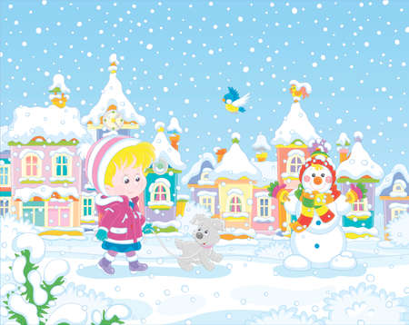 Little girl strolling with a cheerful pup through a snow-covered park of a small colorful town on a snowy winter day, vector illustration in a cartoon style