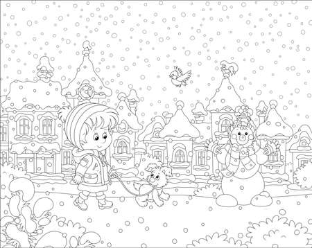 Little girl walking with a cheerful pup through a snow-covered park of a small town on a snowy winter day, black and white vector illustration in a cartoon style for a coloring book  イラスト・ベクター素材