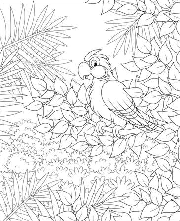Funny tropical parrot perched on a tree branch in tropical jungle, black and white vector illustrations in a cartoon style for a coloring book Stock Illustratie