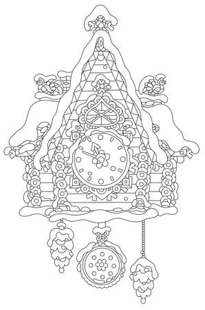 Christmas toy cuckoo-clock with a decorated log house covered with snow, black and white vector illustration in a cartoon style for a coloring book