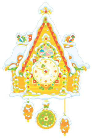 Christmas toy cuckoo-clock with a colorfully decorated log house covered with snow, vector illustration in a cartoon style