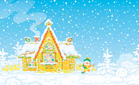 Christmas background with a colorfully decorated log house from a fairytale covered with snow and a friendly smiling snowman next to it, vector illustration in a cartoon style