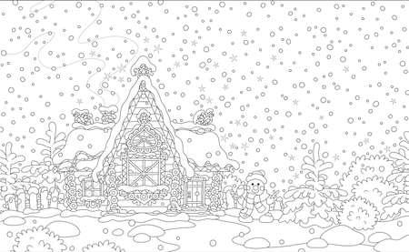 Christmas background with a decorated log house from a fairytale covered with snow and a friendly smiling snowman next to it, black and white vector illustration in a cartoon style Çizim