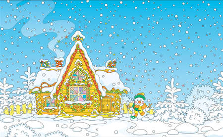 Christmas background with a colorfully decorated log house from a fairytale covered with snow and a friendly smiling snowman next to it, vector illustration in a cartoon style Zdjęcie Seryjne - 133356604