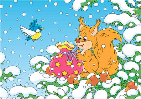 Friendly smiling red squirrel with a beautiful bag of Christmas gifts and nuts on a snow-covered branch of a green fir in a winter forest on a snowy day, vector cartoon illustration