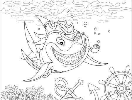 Insidiously smiling great white shark pirate with a pipe, a saber and a cocked hat in a tropical sea over a coral reef with wreckage of an old sail ship, black and white vector cartoon illustration