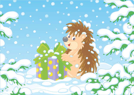 Little prickly surprised hedgehog with a Christmas gift under snow-covered branches of green firs in a winter forest on a snowy day, vector cartoon illustration