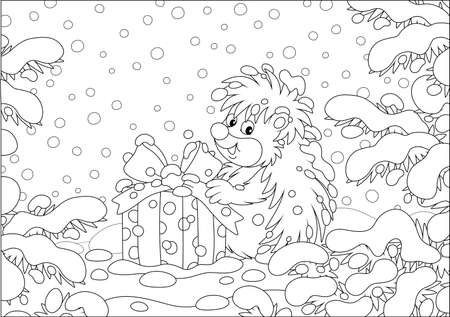 Little prickly surprised hedgehog with a Christmas gift under snow-covered branches of firs in a winter forest on a snowy day, black and white vector cartoon illustration