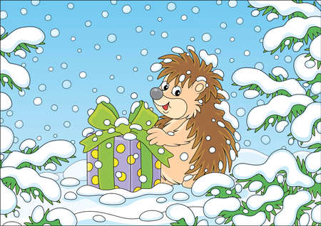 Little prickly surprised hedgehog with a Christmas gift under snow-covered branches of green firs in a winter forest on a snowy day, vector cartoon illustration Zdjęcie Seryjne - 133357311