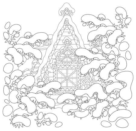 Decorated log house from a fairytale among snow-covered fir trees on Christmas, black and white vector illustration in a cartoon style for a coloring book