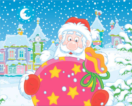 Santa Claus with his gift bag on the street of a small town on the snowy night before Christmas, vector illustration in a cartoon style