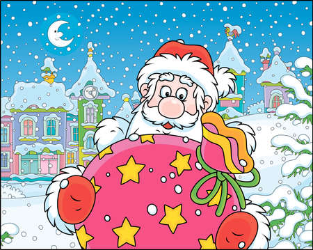 Santa Claus with his gift bag on the street of a small town on the snowy night before Christmas, vector illustration in a cartoon style Zdjęcie Seryjne - 133357329