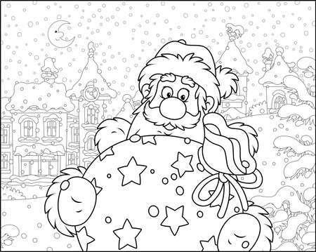 Santa Claus with his gift bag on the street of a small town on the snowy night before Christmas, black and white vector illustration in a cartoon style for a coloring book Çizim