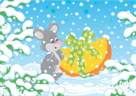 Little grey mouse with a Christmas gift cheese under snow-covered branches of green firs in a winter forest on a beautiful snowy day, vector cartoon illustration