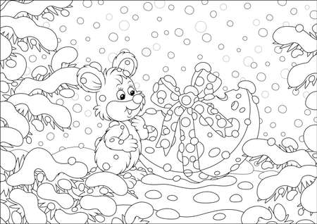Little mouse with a Christmas gift cheese under snow-covered branches of firs in a winter forest on a beautiful snowy day, black and white vector cartoon illustration for a coloring book