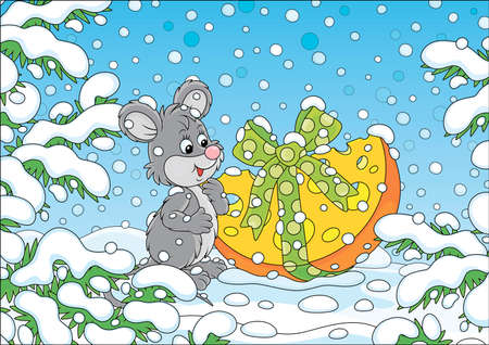 Little gray mouse with a Christmas gift cheese under snow-covered branches of green firs in a winter forest on a snowy beautiful day, vector cartoon illustration