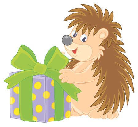 Joyful and friendly smiling little hedgehog holding a beautiful box with a holiday gift, vector cartoon illustration