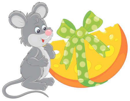 Joyful and friendly smiling grey mouse with a big and tasty holiday gift cheese, vector cartoon illustration