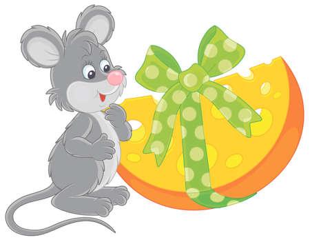 Topo grigio sorridente gioioso e amichevole con un formaggio grande e gustoso regalo di festa, illustrazione vettoriale di cartone animato