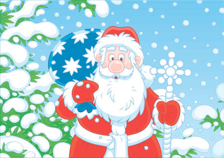 Santa Claus with his bag of Christmas gifts among snow-covered fir branches of a winter forest on the cold snowy day, vector illustration in a cartoon style Ilustração