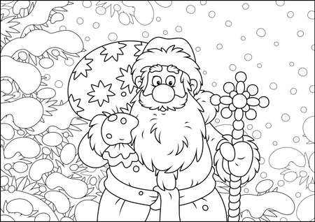 Santa Claus with his bag of Christmas gifts among snow-covered fir branches of a winter forest on the cold snowy day, black and white vector illustration in a cartoon style Ilustração