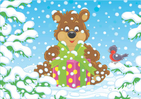 Little brown bear with a Christmas gift under snow-covered branches of green firs in a winter forest on a beautiful snowy day, vector cartoon illustration