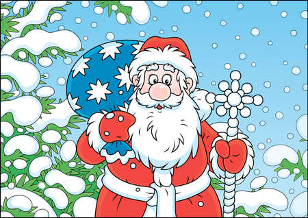 Santa Claus with his bag of Christmas gifts among snow-covered fir branches of a winter forest on the cold snowy day, vector illustration in a cartoon style Illustration