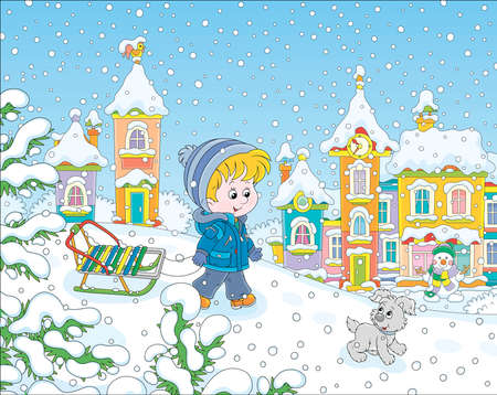Little boy walking with his small cheerful pup and a sledge on a snow-covered playground with a snow slide in a winter park of a small town on a beautiful snowy day, vector cartoon illustration