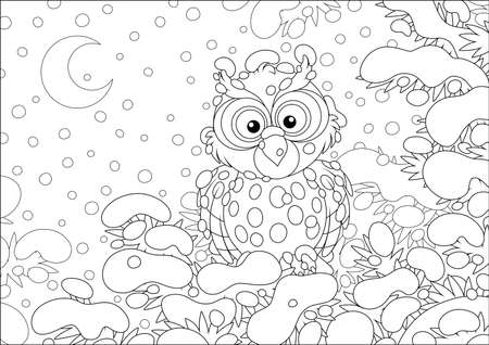 Thoughtful owl perched on a snow-covered branch of a prickly fir in a winter forest on a cold and snowy moonlit night, black and white vector cartoon illustration