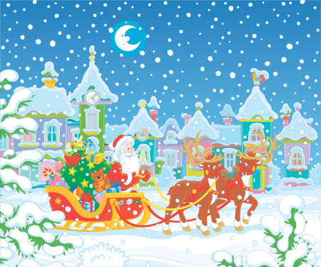 Santa Claus with a big bag of holiday gifts in his celebratory decorated sleigh with magic reindeers in a snow-covered town on the snowy night before Christmas, vector cartoon illustration
