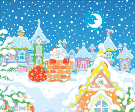 The night before Christmas, Santa Claus looking out of a chimney on a snow-covered roof, vector cartoon illustration