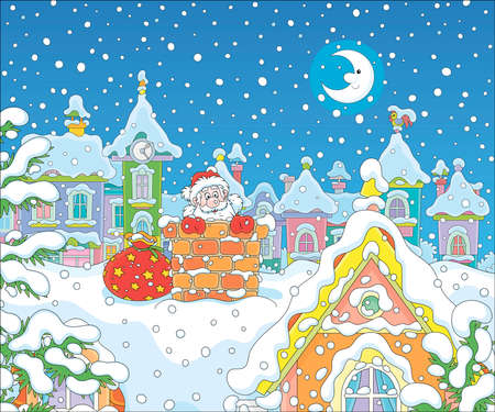 Santa Claus with gifts looking out of a bricky chimney on a snow-covered rooftop of a colorful town house on a snowy moonlit night before Christmas, vector cartoon illustration