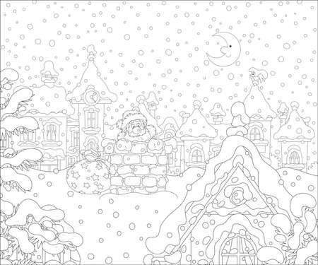 The night before Christmas, Santa Claus with his gift bag looking out of a bricky chimney on a snow-covered roof, black and white vector cartoon illustration for a coloring book