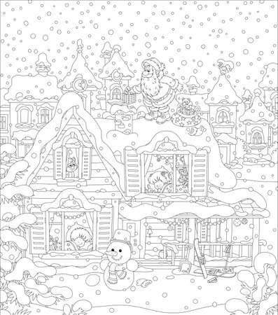 Père Noël avec des cadeaux de vacances près d'une cheminée sur le toit enneigé d'une maison avec des enfants endormis par une nuit enneigée avant Noël, dessin vectoriel noir et blanc