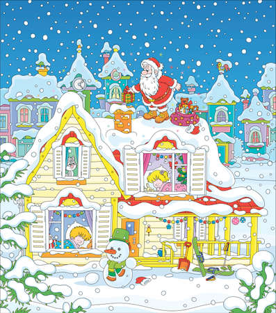Santa Claus with holiday gifts near a chimney on a snow-covered rooftop of a house with sleeping children on a snowy night before Christmas, vector cartoon illustration  イラスト・ベクター素材