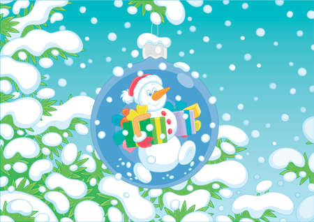 Christmas tree ball with a friendly smiling snowman and color boxes of holiday gifts on a snow-covered branch of a green fir on a snowy winter day, vector cartoon illustration