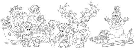 Festively decorated sleigh with magic reindeers of Santa Claus giving Christmas presents to happy and merry small children, black and white vector cartoon illustration for a coloring book page Ilustracja