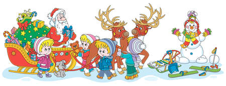 Festively decorated sleigh with magic reindeers of Santa Claus giving Christmas presents to happy and merry small children, vector cartoon illustration
