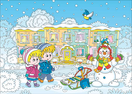 Smiling little kids going to their nursery school and looking at a funny snowman on a snow-covered playground of a winter park on a beautiful snowy day, vector cartoon illustration