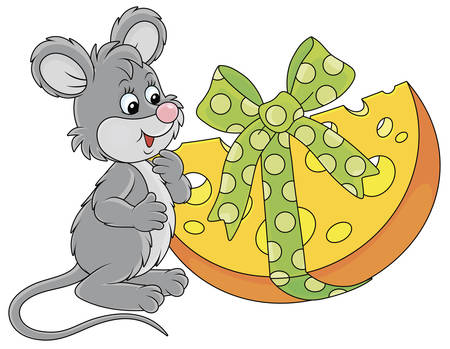 Little grey mouse with a big and tasty holiday gift cheese, vector cartoon illustration