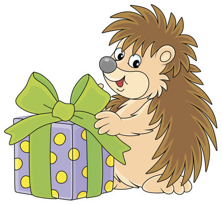 Cute little hedgehog holding a beautiful box with a holiday gift, vector cartoon illustration