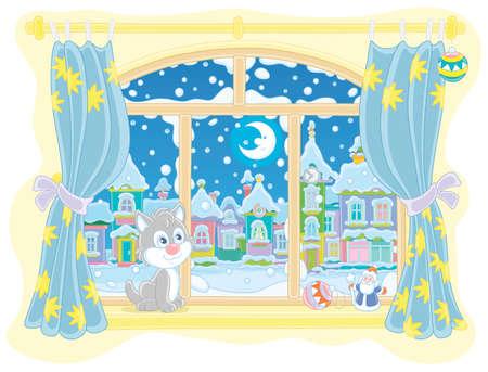 Kleines neugieriges Kätzchen, das auf einer Fensterbank sitzt und in einer frostigen Winternacht durch ein Fenster auf den hellen Mond über einer schönen schneebedeckten Stadt schaut, Vektor-Cartoon-Illustration Vektorgrafik