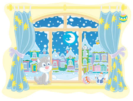 Little curious kitten sitting on a windowsill, looking through a window at the bright moon over a beautiful snow-covered town on a frosty winter night, vector cartoon illustration