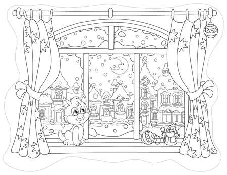 Little curious kitten sitting on a windowsill, looking through a window at the bright moon over a beautiful snow-covered town on a frosty winter night, black and white vector cartoon illustration Illusztráció