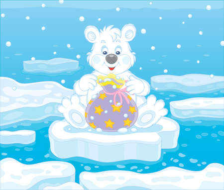 Friendly smiling little polar white bear sitting on an ice floe and opening a beautiful bag with a holiday gift, vector cartoon illustration